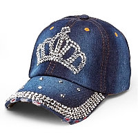 Женская джинсовая бейсболка со стразами, кепка  Denim корона
