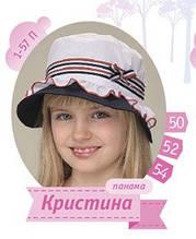 Белая панамка для девочки хлопковая 54 размер на 4 - 6 лет