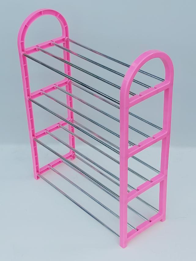 Д 48,5*Ш 19,5*В 69 см. Полка для обуви розового цвета на 4 яруса.