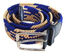 Ремінь гумка плетений 100х3,5 см, бежево-синій