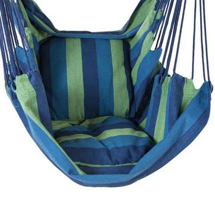 Гамак подвесной сидячий, ширина 95 см, до 130 кг, х/б, синий + чехол, фото 2