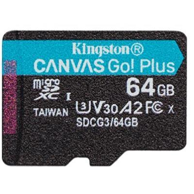 Карта пам'яті Kingston 64GB microSD, class 10 UHS-I U3 A2 Canvas Go Plus (SDCG3/64GBSP)