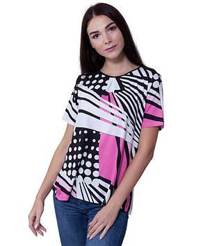 Яскрава жіноча футболка з віскози (розміри від L до 2XL)