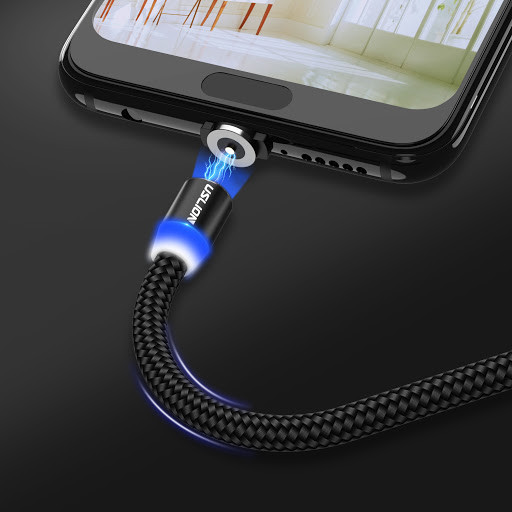 Магнитный кабель для зарядки USLION  с подсветкой, 1 м