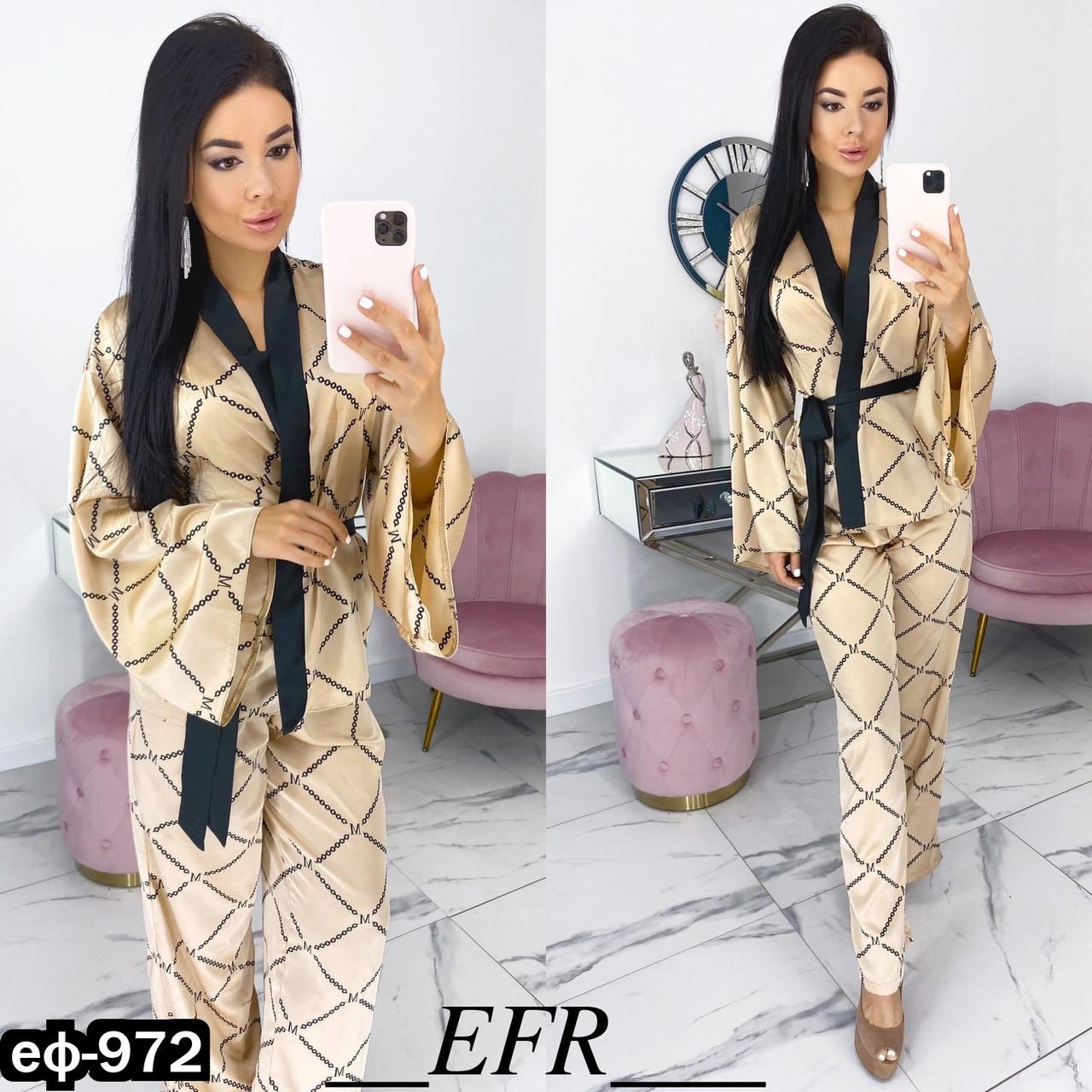 Женская стильная шелковая пижама 2 цвета