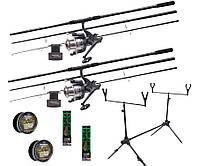 Рыболовный набор Flagman Magnum Black Carp на два удилища с катушками и подставкой + 4 ПОДАРКА