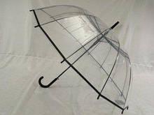 Женский зонт прозрачный на 14 спиц с белой ручкой