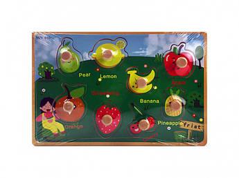 Деревянная игрушка Рамка-вкладыш MD  2384-01 ( 2384-010 (Фрукты))