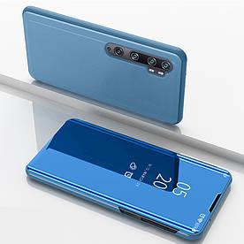Чехол книжка для Xiaomi Mi Note 10   Note 10 Pro боковой с зеркальной поверхностью, голубой