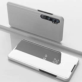 Чехол книжка для Xiaomi Mi Note 10   Note 10 Pro боковой с зеркальной поверхностью, серебристый