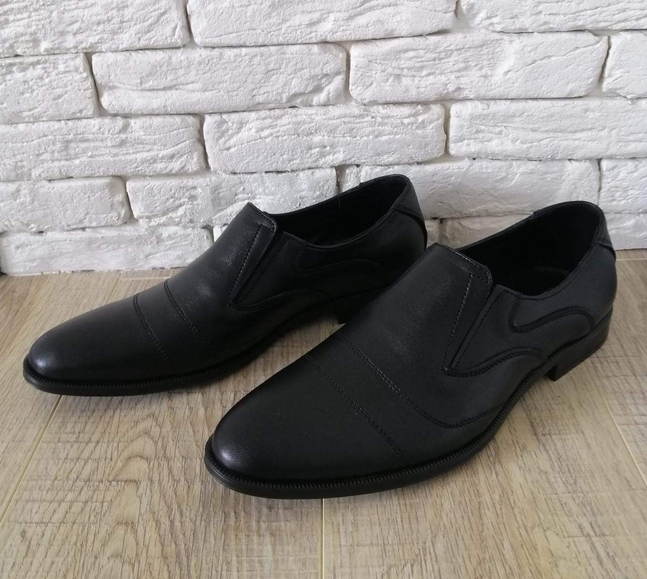 Чоловічі шкіряні туфлі класичні 39-45 чорний