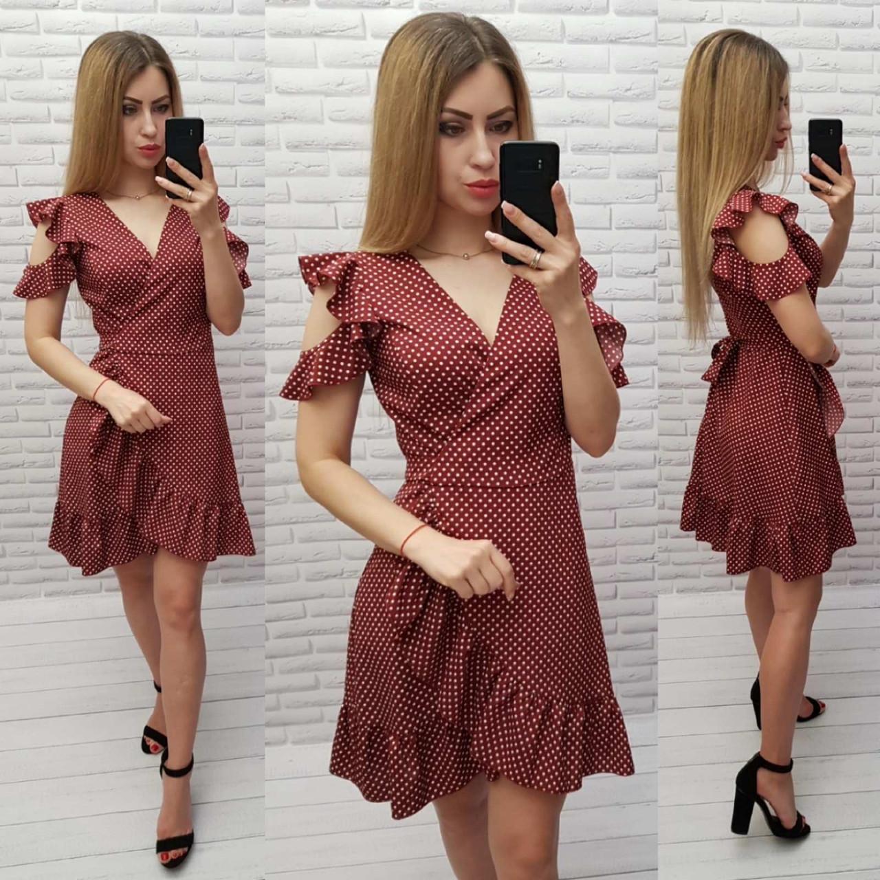 Платье женское в горох, цвет:марсала
