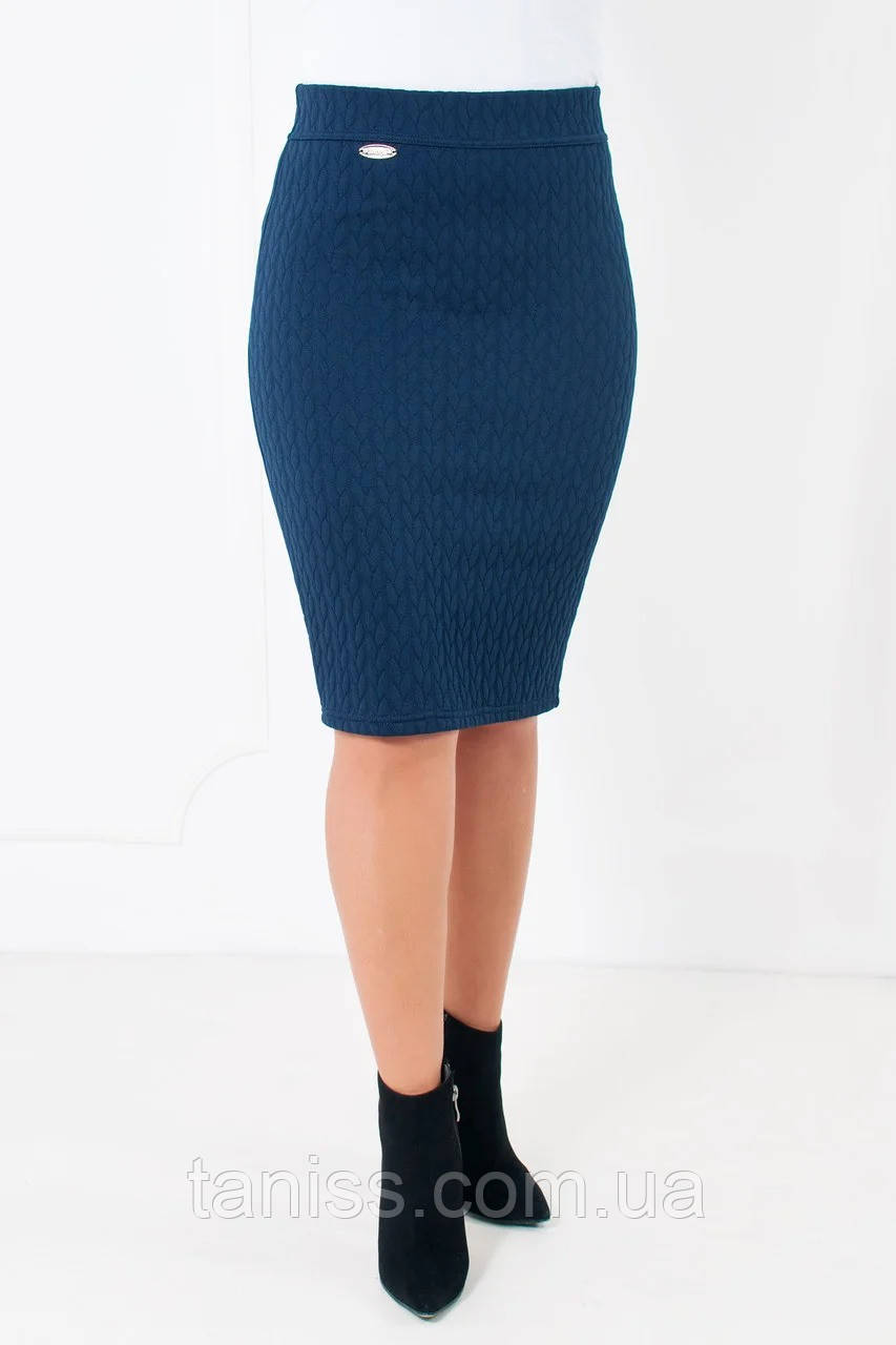 """Классическая  юбка-карандаш """"Рейчел"""",ткань трикотаж косичка, размеры 44,46,48, 50, 52, 54,синяя, спідниця"""