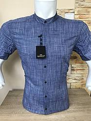 Рубашка с коротким рукавом Barbados лён,  стойка-(00012)
