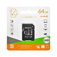 Карта памяти MicroSDHC 64GB UHS-I U3 Class 10 T&G + SD-adapter (TG-64GBSDU3CL10-01)