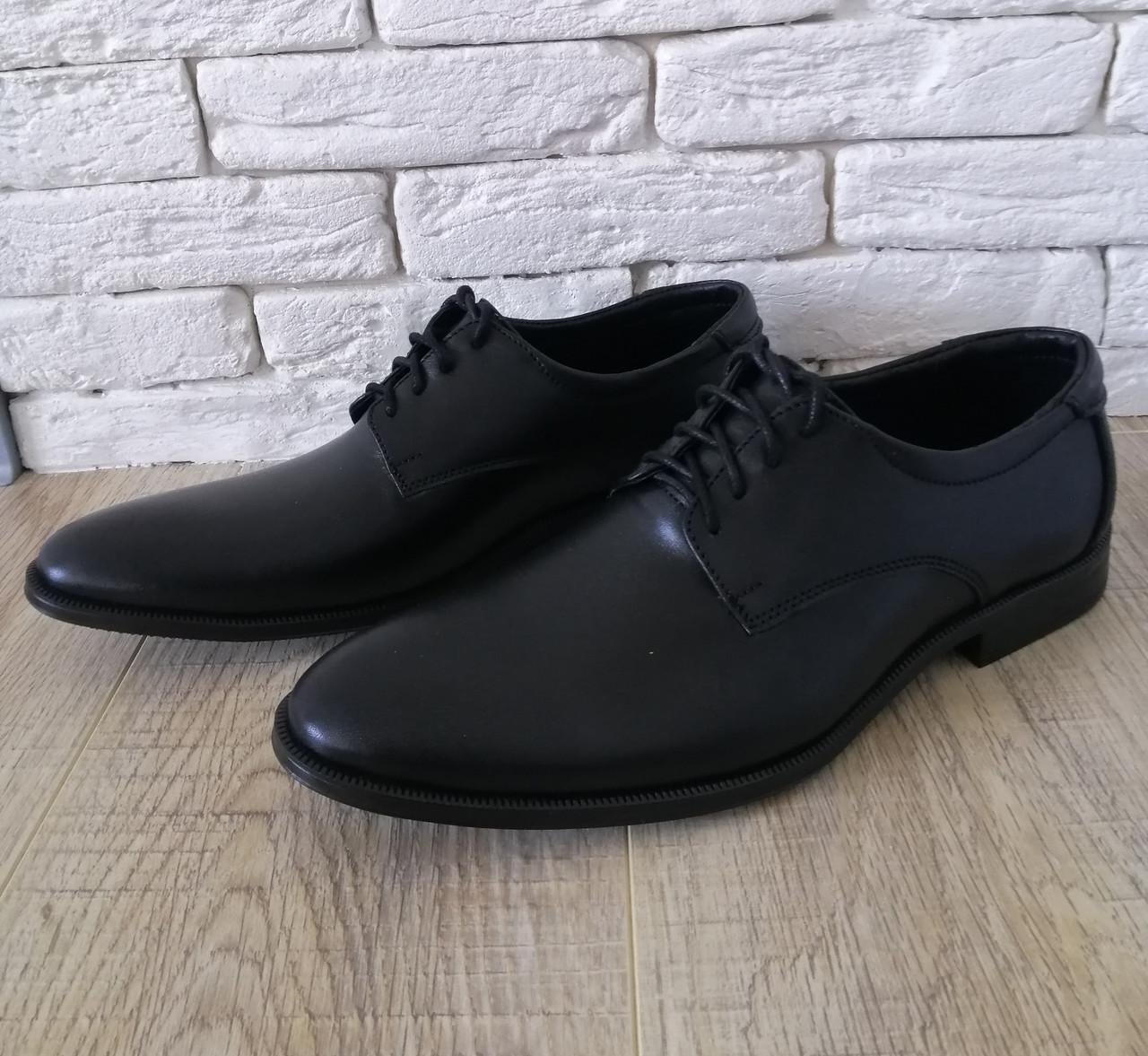 Туфли мужские классические из натуральной кожи 39-45 черный