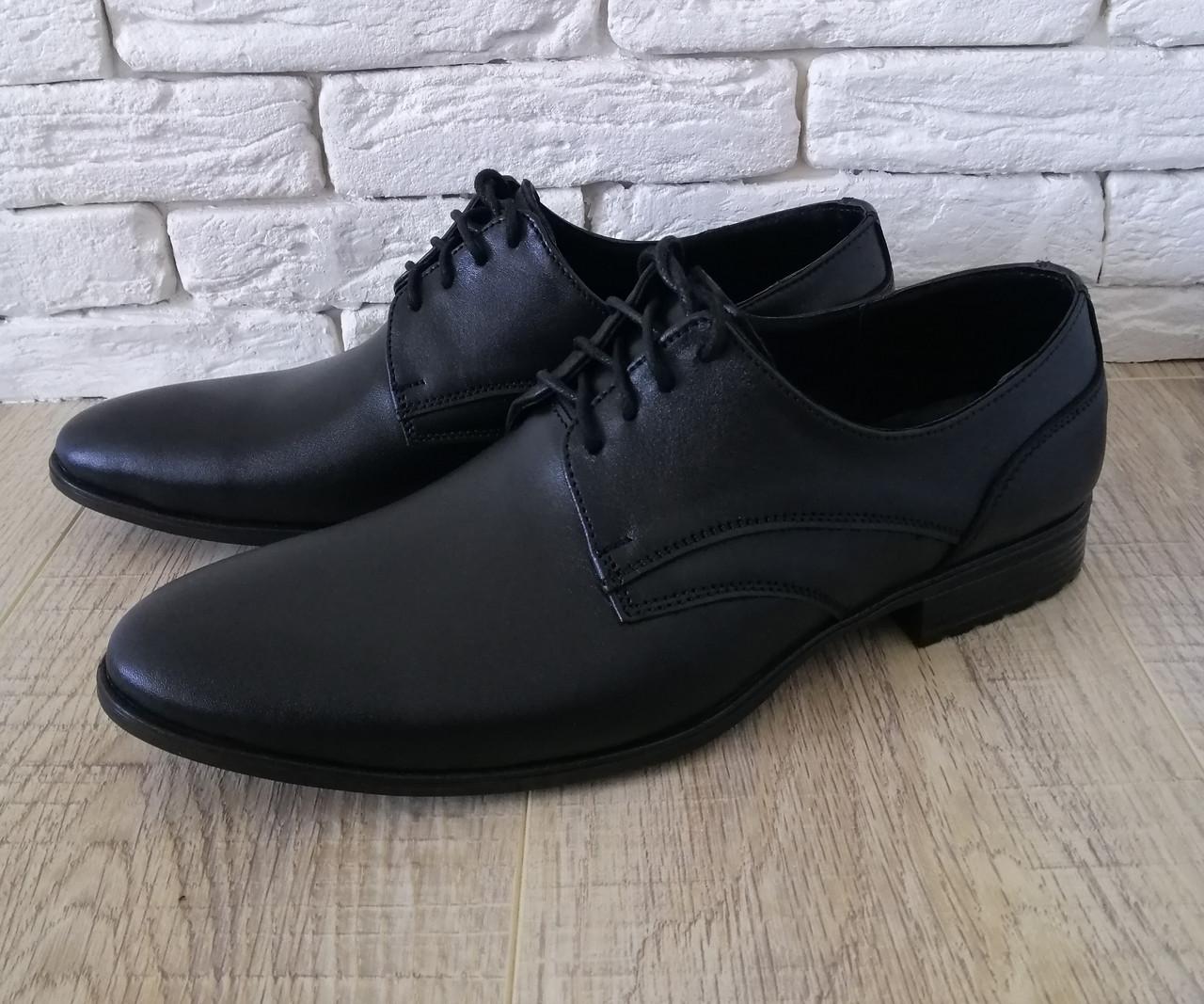Мужские туфли из натуральной кожи   39-45 черный