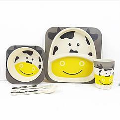 Набір дитячої бамбуковій посуду Stenson MH-2770-5 Корова