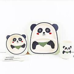 Набір дитячої бамбуковій посуду Stenson MH-2770-7 Панда