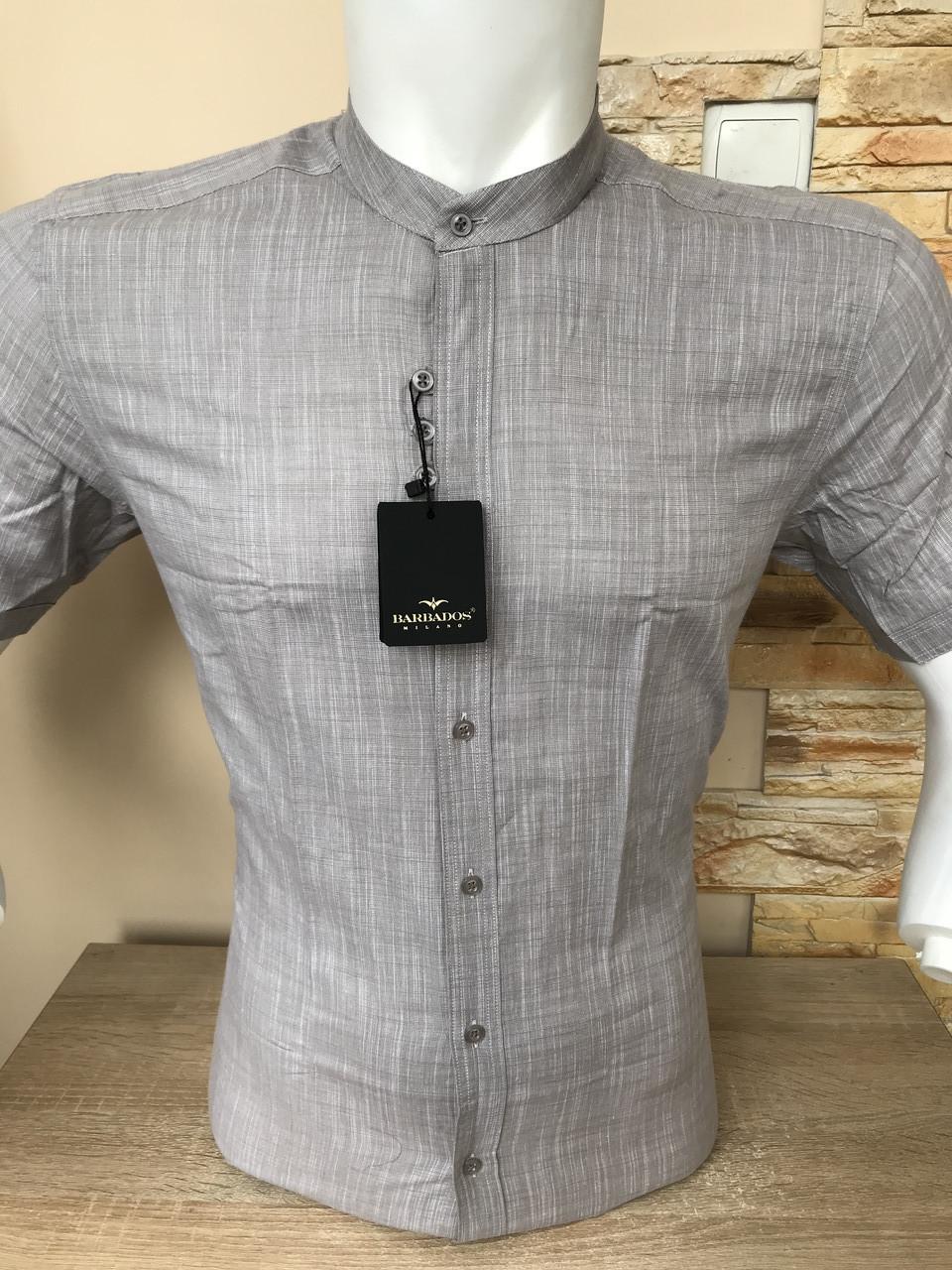 Рубашка с коротким рукавом Barbados лён,  стойка (0006)