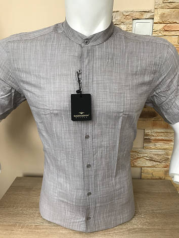 Рубашка с коротким рукавом Barbados лён,  стойка (0006), фото 2