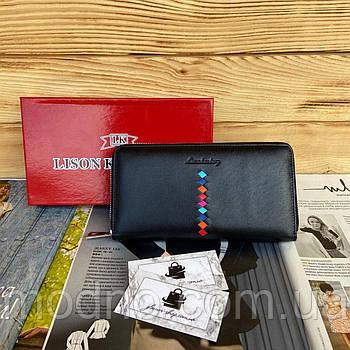 Женский кожаный кошелек клатч на молнии чёрный Lison Kaoberg