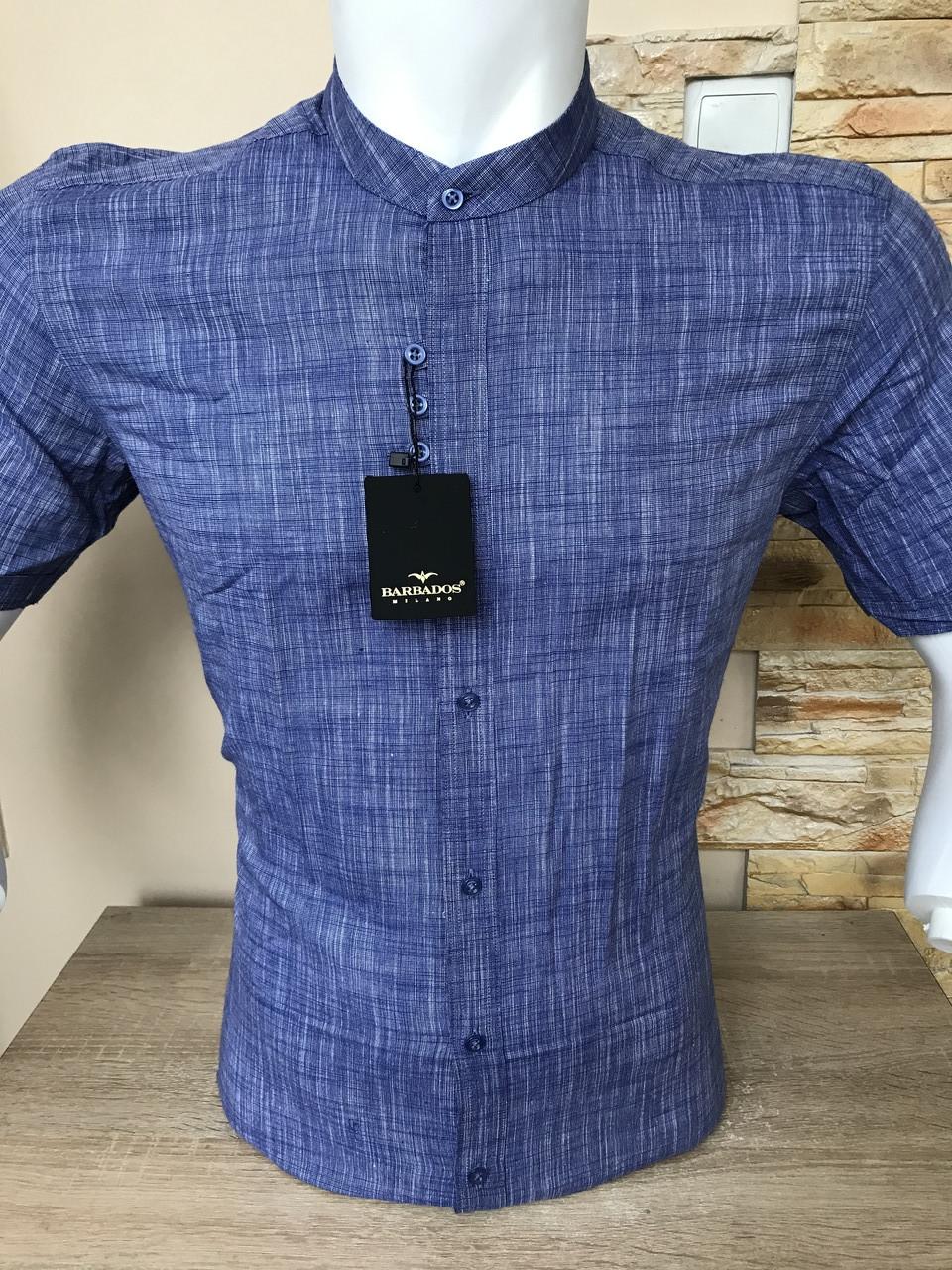 Сорочка з коротким рукавом Barbados льон, стійка (0001)