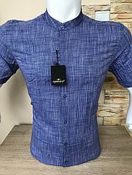 Рубашка с коротким рукавом Barbados лён,  стойка (0001)