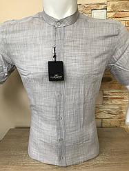 Рубашка с коротким рукавом Barbados лён,  стойка (24499-1)