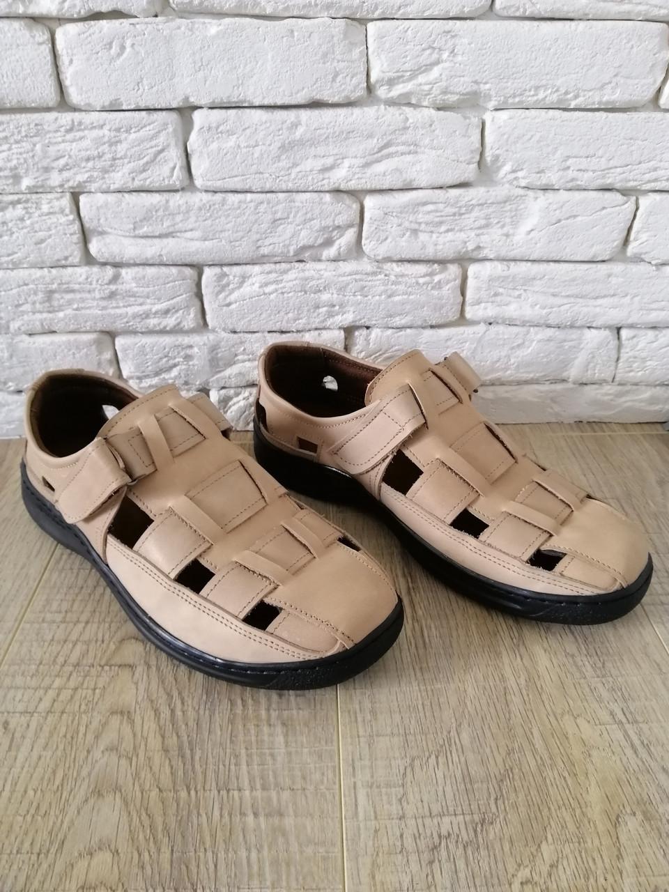 Сандали мужские кожаные    39-47 бежевый
