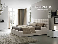 Двухспальные кровати Люкс НЬЮ-ЙОРК без матраса с ящиком для белья (квадраты), фото 1