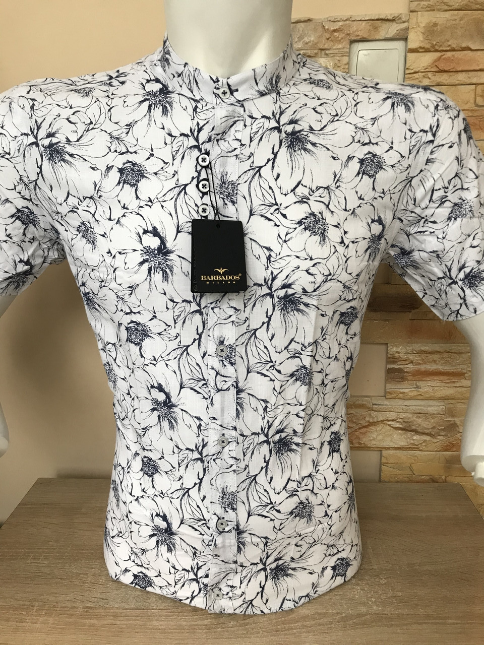 Рубашка с коротким рукавом Barbados лён,  стойка/принт