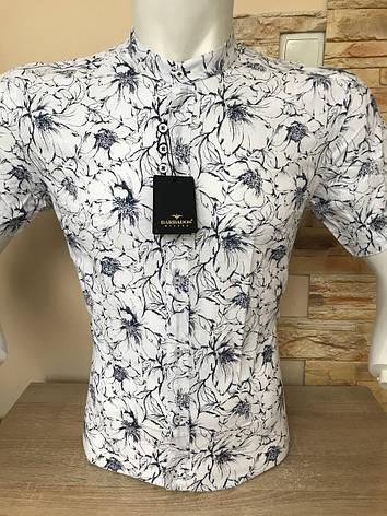 Сорочка з коротким рукавом Barbados льон, стійка/принт, фото 2