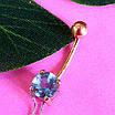 Золотой пирсинг в пупок с натуральным топазом, фото 3