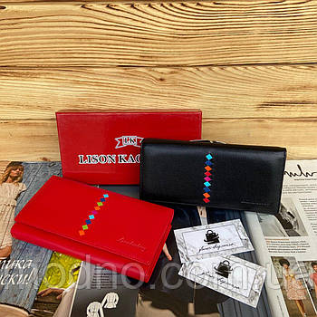 Жіночий шкіряний гаманець портмоне на кнопці чорний червоний Lison Kaoberg