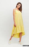 Красивое женское летнее платье желтое