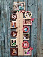 Детский ростомер для двоих детей из дерева фанеры