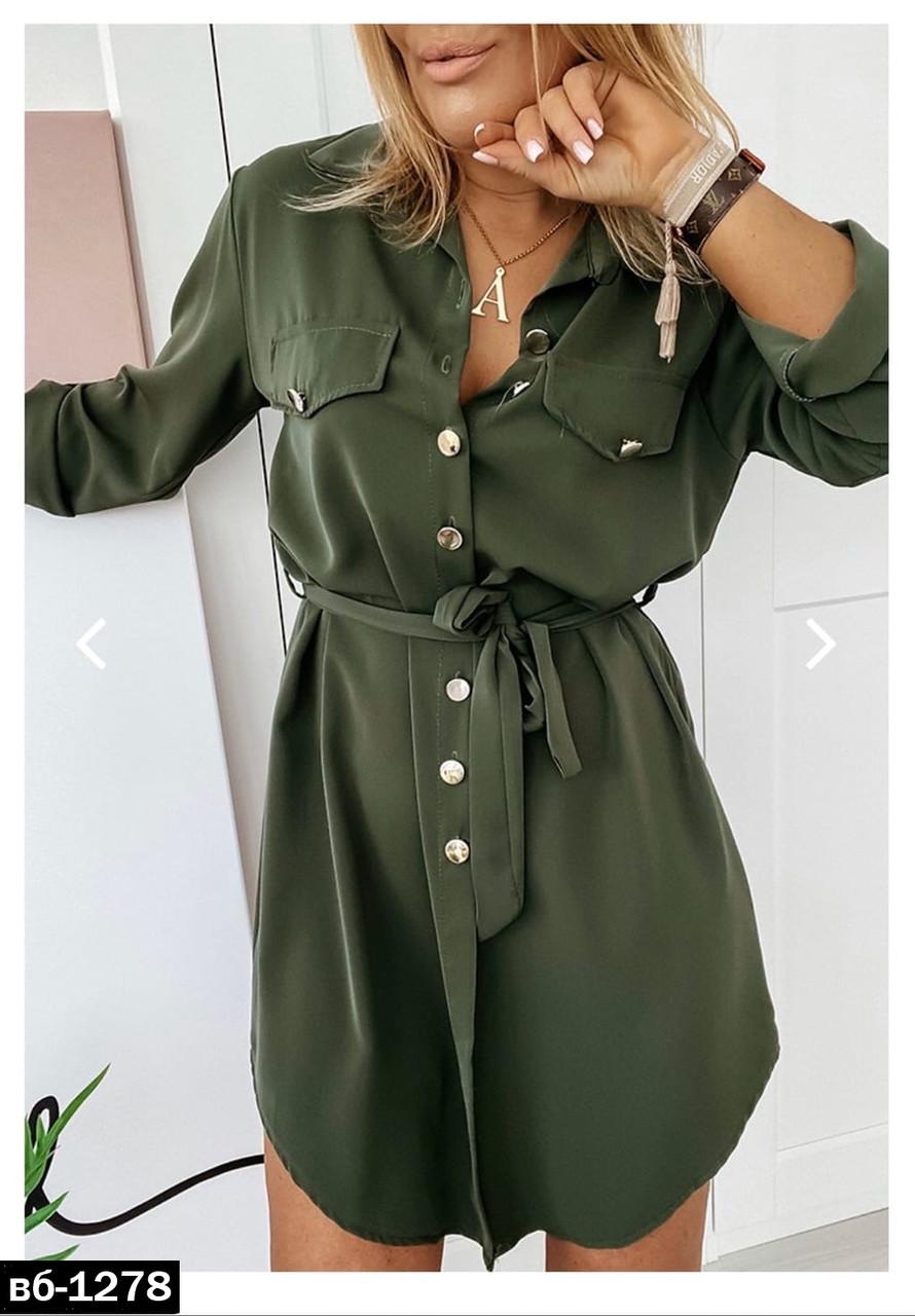 Модное женское стильное платье-рубашка С, М +большие размеры