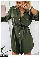 Модное женское стильное платье-рубашка С, М +большие размеры, фото 1