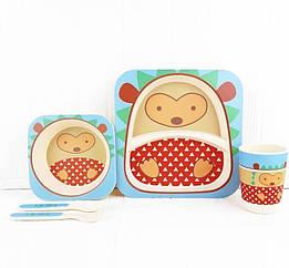 Набір дитячої бамбуковій посуду Stenson MH-2770-21 Їжачок