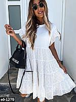 Женское легкое стильное платье из прошвы
