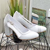 Туфли кожаные женские на высоком каблуке, цвет белый. 38 размер