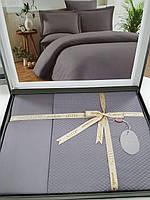 Постельное Белье Сатин Жаккард Двуспальное Евро 200*220 см Однотонное Elita Турция Серое Gray
