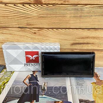 Женский кожаный глянцевый кошелек на кнопке чёрный Prensiti
