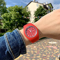 Женские наручные часы силиконовые Geneva софт тач красные
