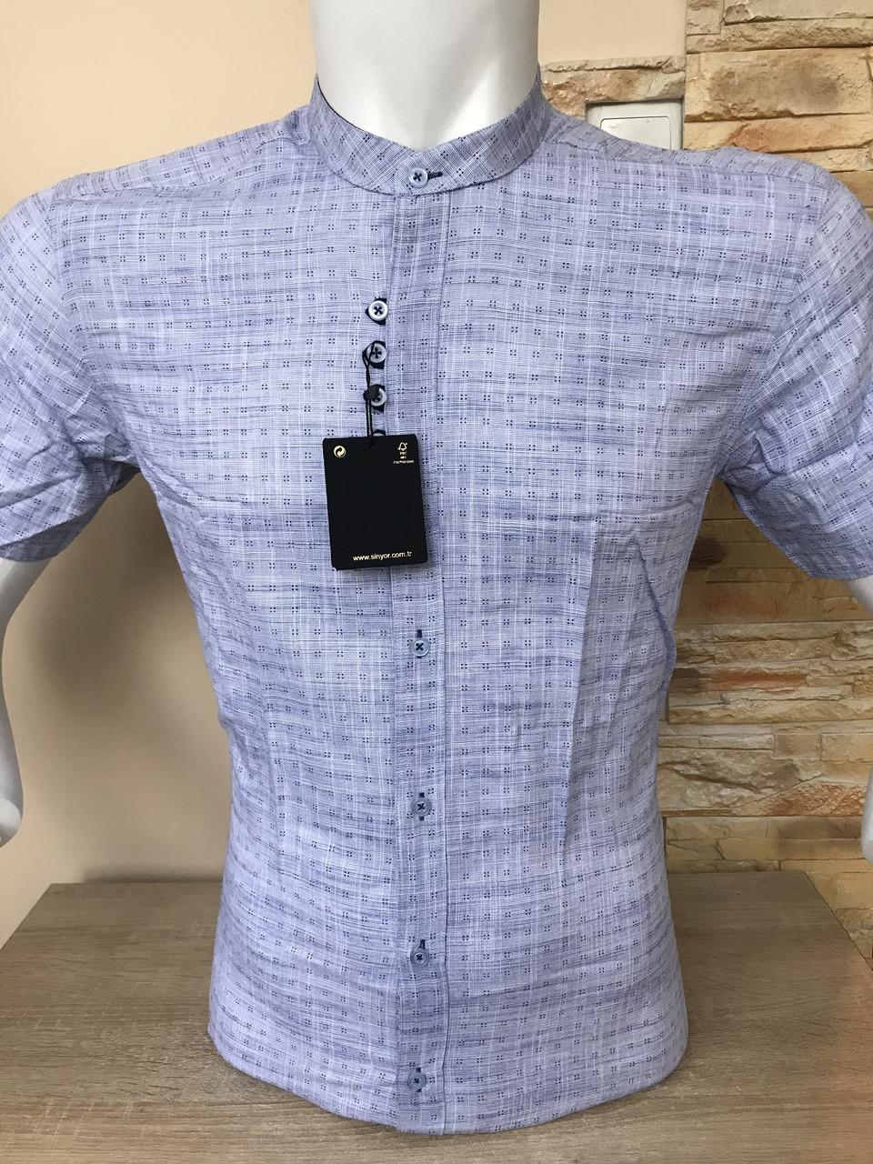 Сорочка з коротким рукавом Barbados льон, стійка/принт