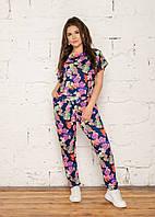 Женский летний костюм яркие цвета цветочный принт батальный размер: от 46 до 56