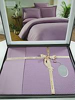 Постельное Белье Сатин Жаккард Двуспальное Евро 200*220 см Однотонное Elita Турция Фиолетовое