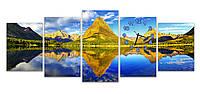 Красивые Большие Часы картина модульная для декора дома Горный пейзаж 30х41 30х51 30х61 30х51 30х41 см