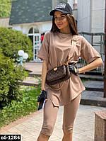 Модный женский костюм с велосипедками и футболкой Разные цвета С, М +большие размеры, фото 1